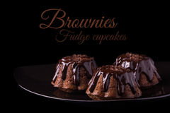 Queques das brownies do chocolate imagem de stock royalty free