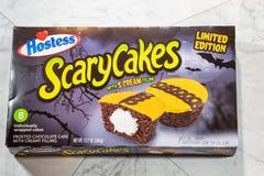 Queques de Brand Scary Cakes da aeromoça com característica de enchimento f alaranjado fotografia de stock royalty free