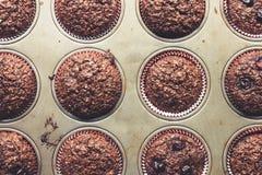Queques de farelo do chocolate com cerejas, em velho, grunge que olha, bandeja da lata Fotografia de Stock Royalty Free