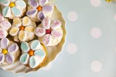 Queques decorados com as flores do creme e do marshmallow da manteiga imagem de stock