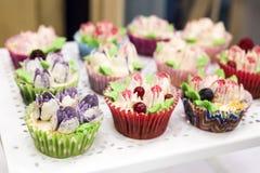 Queques deliciosos com buttercream e frutos Foto de Stock Royalty Free