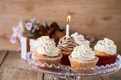 Queques deliciosos do aniversário com uma vela Fotografia de Stock