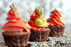 Queques do chocolate de Easter Fotografia de Stock