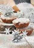 Queques do chocolate do Natal Foto de Stock Royalty Free