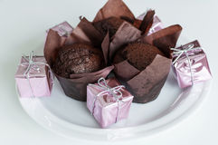 Queques do chocolate doce Fotografia de Stock Royalty Free