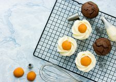 Queques do ovo da páscoa - queques do chocolate com geada do queijo creme Fotografia de Stock