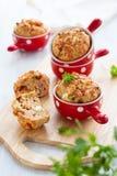 Queques do presunto, do queijo e do tomate Imagens de Stock