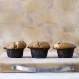 3 queques dos pedaços de chocolate em uma placa de madeira Fotografia de Stock Royalty Free