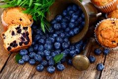 Queques e frutas na tabela Fotos de Stock Royalty Free
