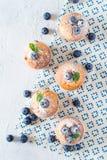 Queques ou queques dos mirtilos com as folhas de hortelã no textur branco fotos de stock