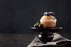 Queques ou queques dos mirtilos com as folhas de hortelã no textur preto imagem de stock