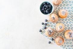 Queques ou queques dos mirtilos na textura branca imagem de stock royalty free