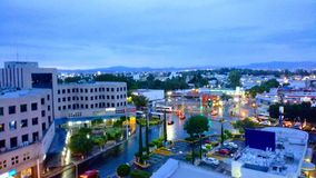 Querétaro City. This image shows a cloudy evening in the center of Mexico stock photography