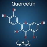 Quercetin flavonoid molekuła Formalnie chemiczna formuła i ilustracja wektor