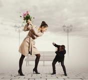 Querelle entre l'homme et la femme Image stock