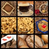 Queremos el café Collage del café Publicidad para la venta del café Vistas detalladas de diversos tipos de café Adorne la tienda  Fotos de archivo
