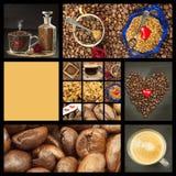 Queremos el café Collage del café Publicidad para la venta del café Vistas detalladas de diversos tipos de café Adorne la tienda  Imágenes de archivo libres de regalías