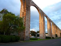 Queretaro Aquaduct at Sunset. Photo of aquaduct at sunset in queretaro mexico stock photo