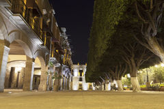 Queretaro main square at night. And Casa del Corregimiento in the background royalty free stock photos