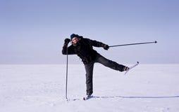 QuerfeldeinSkifahrer Lizenzfreies Stockbild