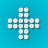 Querform mit medizinischen Pillen auf blauem Hintergrund Stockfoto
