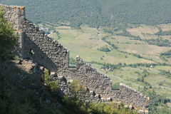 Queribus: Κάστρο Cathare τοπίων Στοκ Εικόνα