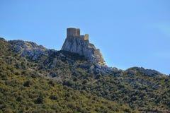 Queribus castle Languedoc-Roussillon, France. Queribus castle, the Last Cathar Stronghold, Languedoc-Roussillon, France stock images