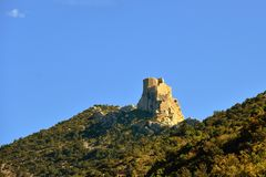 Queribus cathar castle Royalty Free Stock Image