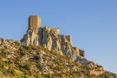 Queribus-Schloss, Cucugnan, Frankreich lizenzfreie stockfotografie