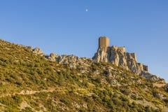 Queribus slott, Cucugnan, Frankrike royaltyfria bilder