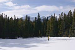 Querland-Skifahren in den Bergen Stockfotografie