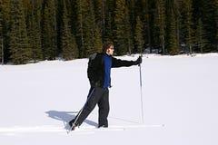 Querland-Skifahren in den Bergen Stockbilder
