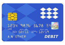 Querneigung-Debitkartespott oben getrennt auf Weiß. Stockfotos
