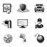 Querneigung-Sicherheits-Ikonen | B&W Serie Stockbilder