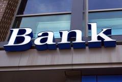 querneigung zeichen APRIL 2014: US, Bank-Zeichen Lizenzfreie Stockfotografie