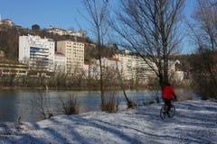 Querneigungen von Rhône-Fluss in Lyon Lizenzfreies Stockbild