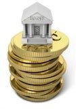 Querneigungikone mit Goldmünzen Stockbilder