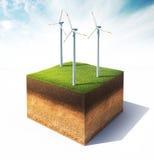 Querschnitt Boden mit Windkraftanlage Stockfotos