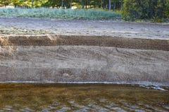 Querschnitt der sandigen Bank von einem kleinen Fluss stockbilder