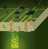 Querschnitt des grünen Motherboards stock abbildung