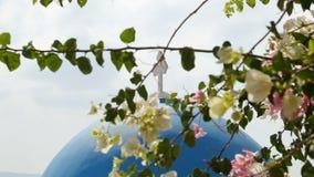 Querstellung auf blauer Kirchenhaube, Niederlassungen, die in der Front, Griechenland-Tourismus blühen stock video