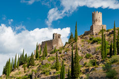 Quertinheux and Surdespine towers at Lastours Royalty Free Stock Images