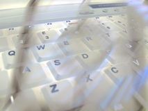 Querty white keyboard Stock Photo