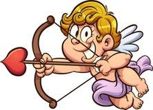 Querubim bonito de Valentine Day que guarda uma curva e uma seta ilustração royalty free