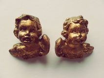 Querubinpaar op Gouden beeldhouwwerken Stock Fotografie