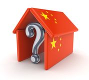 Query mark under chinese flag. Stock Images