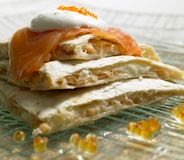 Quesadilla. With smoked salmon and caviar royalty free stock photography