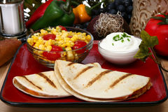 Quesadilla. Chicken quesadilla in kitchen or restaurant royalty free stock images