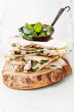 Quesadilla with cheese, meat and vegetables Stock Images