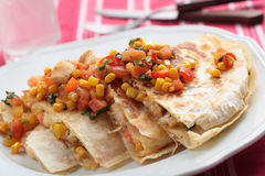 Quesadilla with chicken. And vegetables on a plate royalty free stock photos